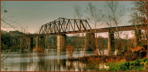 Railroad bridge spanning the White river in Cotter Arkansas
