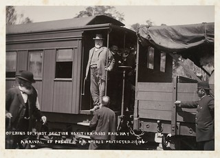 Premier Seddon arriving at the opening of the first section of the Hokitika-Ross railway, West Coast, ca 22 Jan 1906