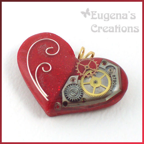 Heart of a Mechanic Doll - Steampunk-Style Pendant, Polymer Clay and Resin