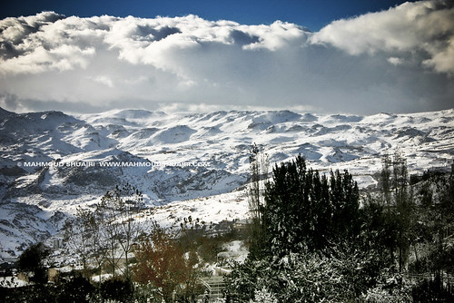 blue trees sky white mountain snow green nature colors clouds canon 300d syria damascus mahmoud blodan shuairi