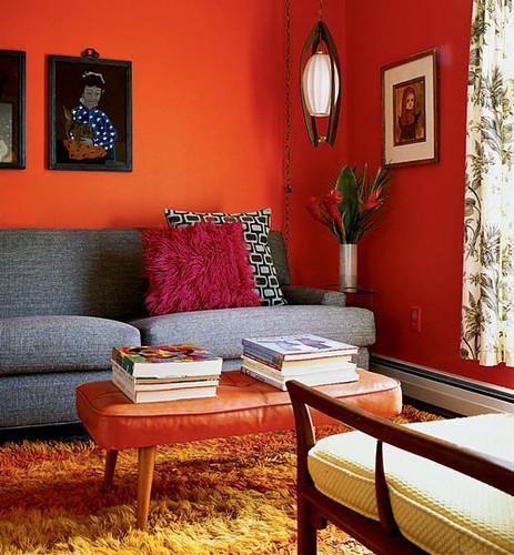 mid century living room with orange walls flickr photo