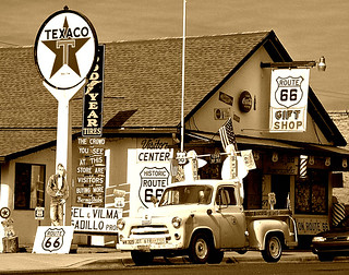 Angel Degadillo's Barber Shop in Seligman, Arizona Along Route 66 (Sepia)
