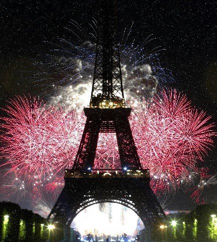 Eiffel Tower Fireworks Display