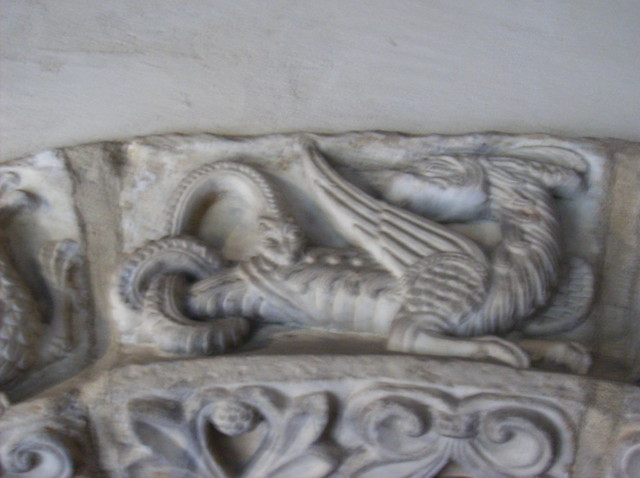 The Cuxa Cloister:  Narbonne Arch (detail: an Amphisbaena)
