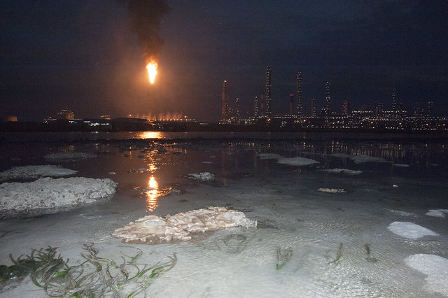 Flaring on Pulau Bukom seen from Pulau Hantu
