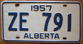 ALBERTA 1957 license plate