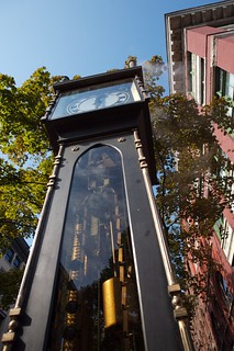 Image of Gastown Steam Clock near West End. cruise vacation art clock vancouver photo image britishcolumbia stock grandfather creative free commons steam license walt gastown powered wls stoneburner waltstoneburner