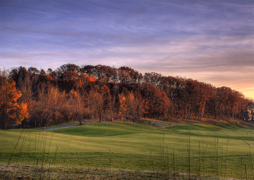 autumn trees sunset sky green fall grass leaves golf landscape hole outdoor hdr