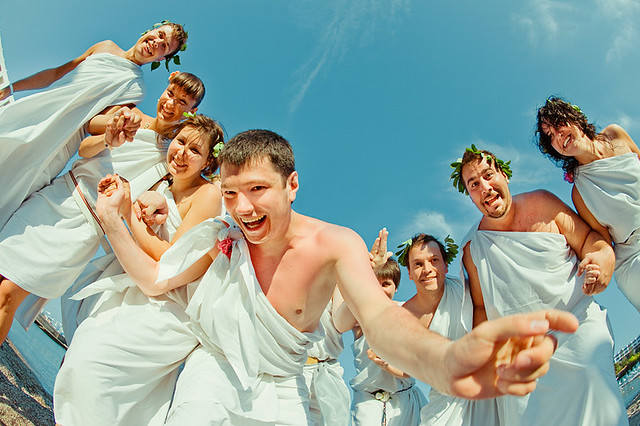 Rhodes greek fun wedding - bridal party
