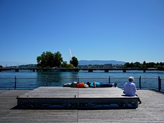 Lake Geneva from pont de la Machine on a hot midsummer day