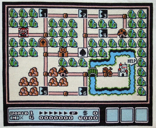 Mario map cross stitch pattern