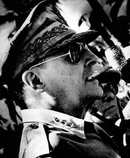 General MacArthur surveys the beachhead on Leyte Island