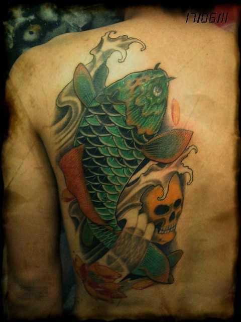 Koi fish cover up by dejavu tattoo studio 16 06 11 for Koi fish cover up