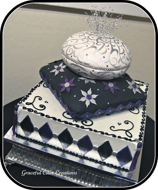 Purple Black And Silver Pillow Wedding Cake