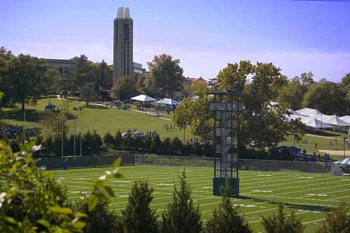 football lawrence belltower campanile ku kansas jayhawks practicefield