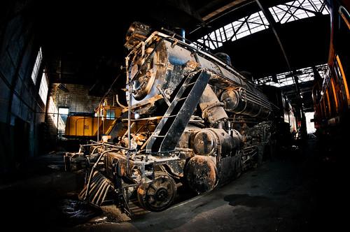 railroad digital train industrial nevada railway historic fisheye workshop repair ely facility baldwin steamengine 1917 81 280 d300 nevadanothernrailwayco
