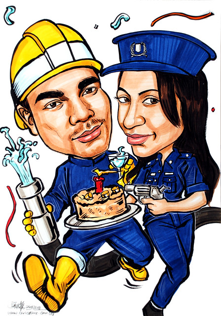 Couple caricatures Fireman Police Woman birthday | Flickr ...