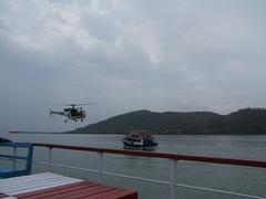 Ferry to Elephanta Island - Buzzed by helicopter