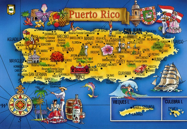 My Little Postcard Corner July 2013 – Puerto Rico Tourist Attractions Map