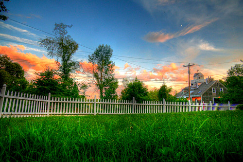 sunset white grass clouds digital yard canon fence eos vivid front 5d hdr picket