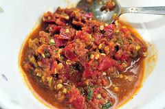 produce(0.0), caponata(0.0), stew(1.0), curry(1.0), vegetable(1.0), meat(1.0), food(1.0), dish(1.0), cuisine(1.0), gumbo(1.0), sambal(1.0),