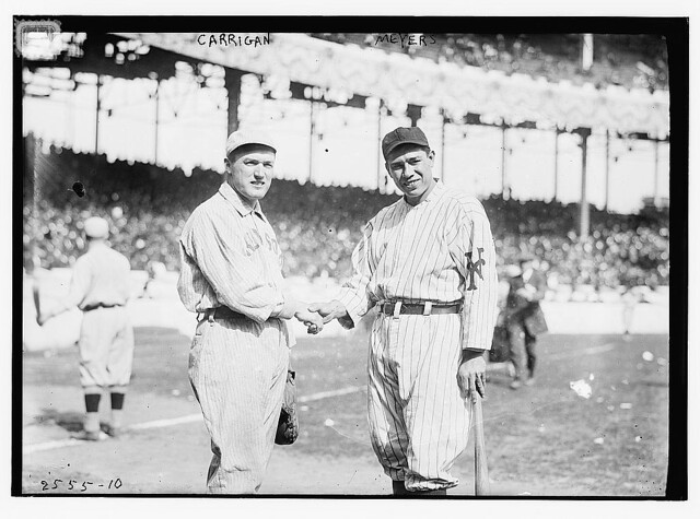 [Bill Carrigan (Boston AL) & Chief Meyers (New York NL) during World Series at Polo Grounds, NY, 1912 (baseball)] (LOC)