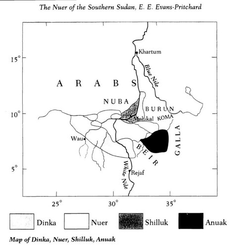 Map of Dinka, Nuer, Shilluk, Anuak