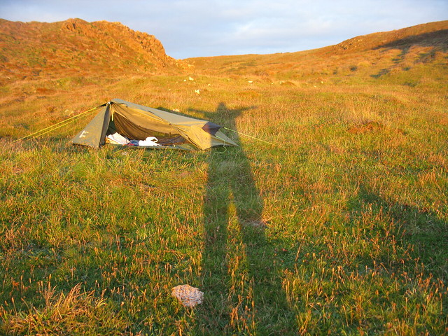My shadow my tent camping near Kynance cove
