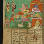 Illuminated Manuscript, Collection of poems (masnavi), Thieves, unhindered by guards, attack a caravan while its occupants sleep, Walters Art Museum Ms. W.626, fol. 177a