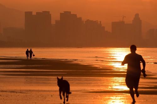 ocean city sunrise 日出 三亚湾 海南岛 晨练