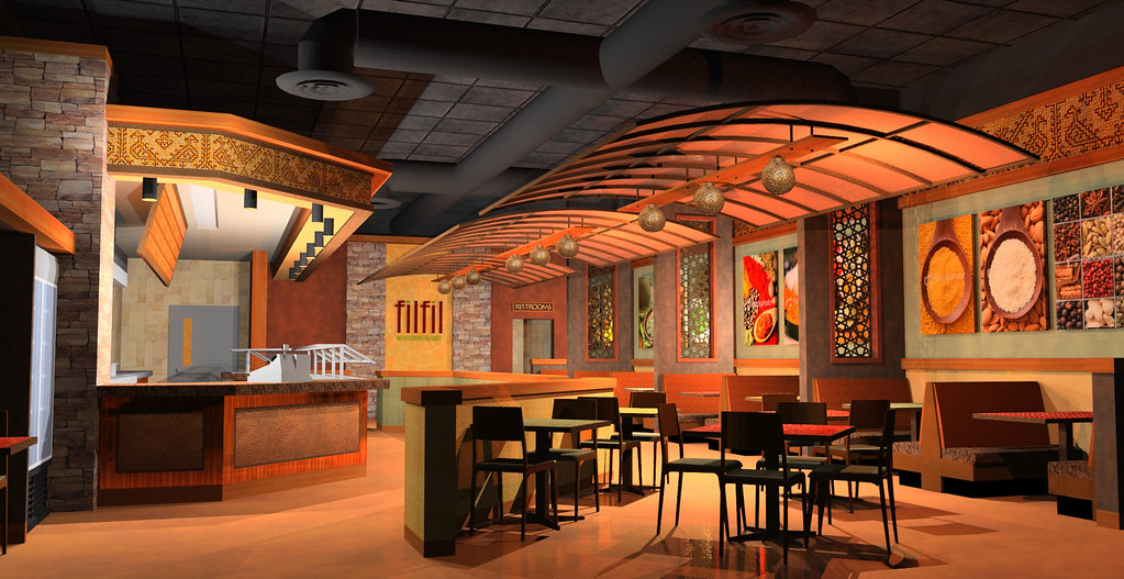 Interior restaurant design d rendering