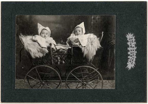 Twins in a Wicker Pram - Card Photograph