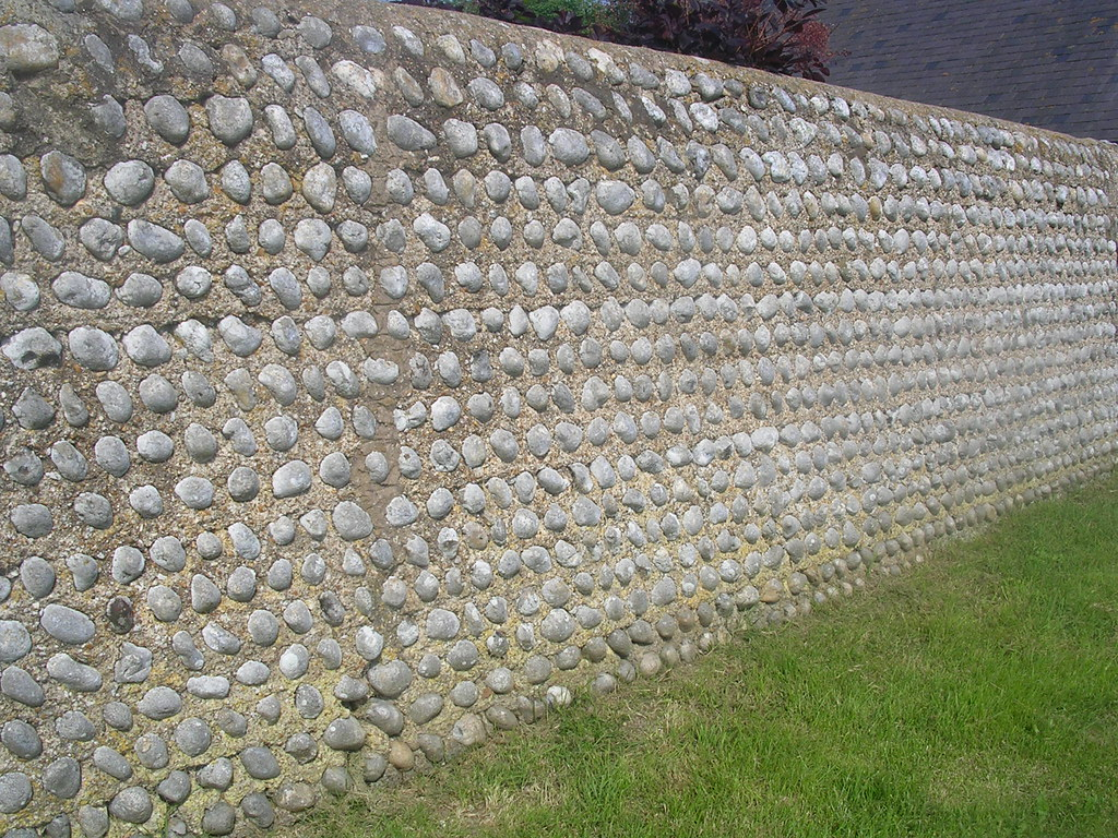 Flint wall Striking but not quite right. Cement involved? Or perhaps just too new. Lewes to Rodmell (via Northease) to Seaford