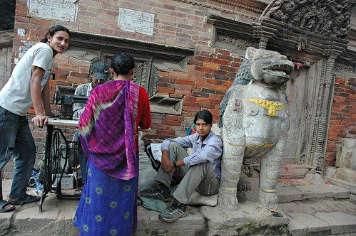 Neighborhood Tailor with Stone Lion, Kathmandu, Nepal by Wonderlane
