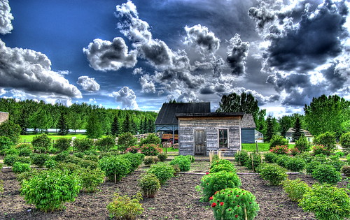 blue sky canada green clouds landscape pentax shed explore alberta freehand shrubs hdr fortedmontonpark peonygarden photomatixpro 5xp paeon k10d pentaxk10d silverheightspeonygarden
