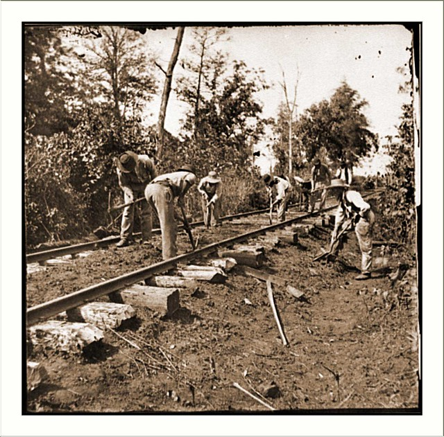 Murfreesboro Tenn Vicinity Men Repairing Single Track Railroad After Battle Of Stones River