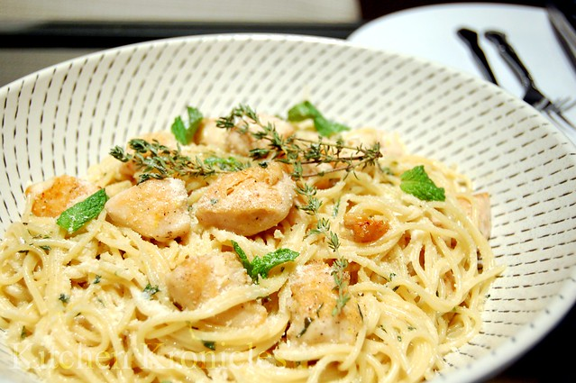 Chicken Pasta with Thyme-Mint Cream Sauce | Flickr - Photo Sharing!
