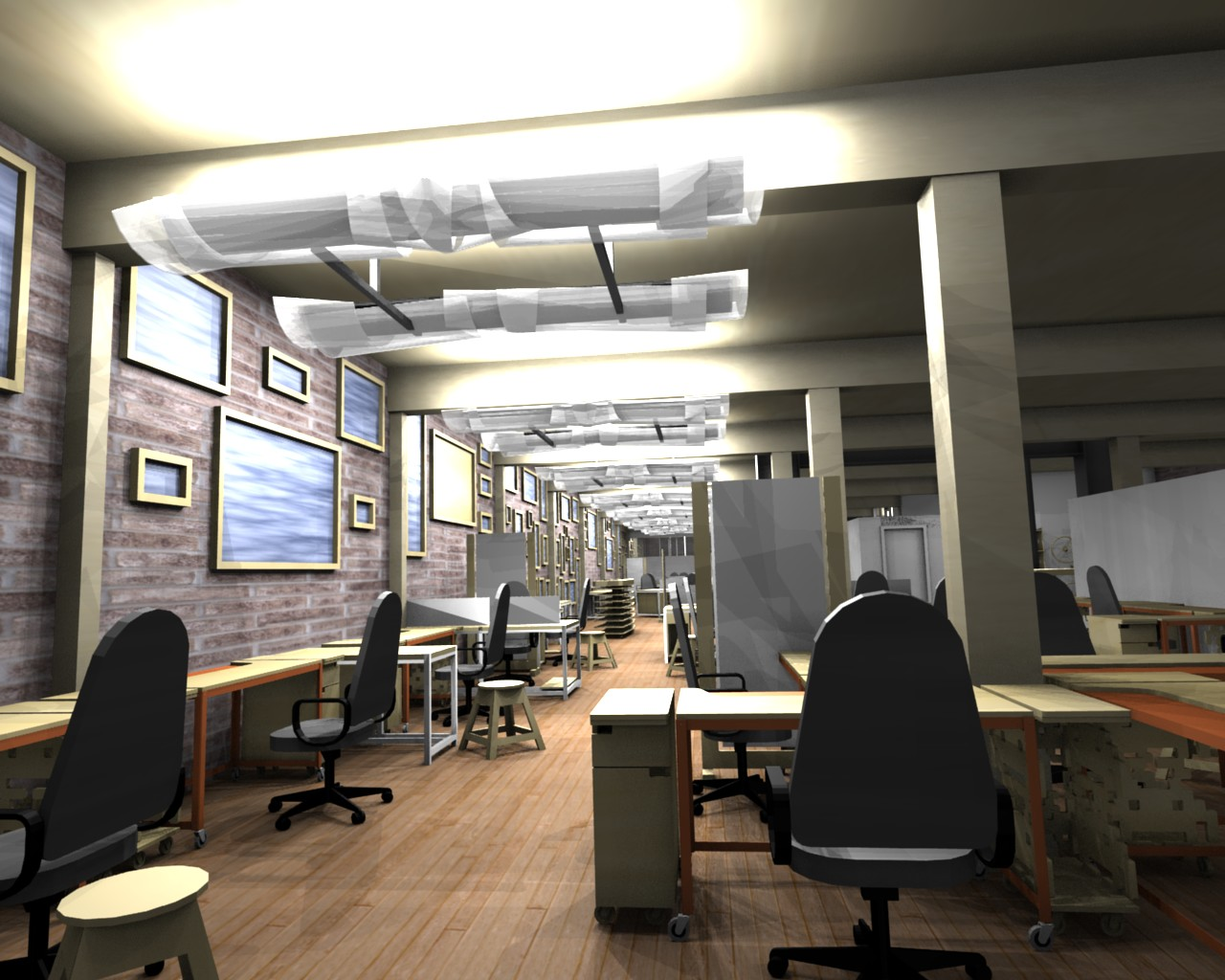 Perfect office interior design industrial home design 428 for Industrial office interior