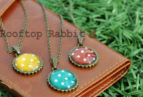 Polka Dots pendant necklace (Yelow, Aqua, Red)- $12 cdn each