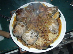 A big plate of steamed clams.