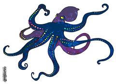animal figure(0.0), molluscs(0.0), animal(1.0), octopus(1.0), invertebrate(1.0), marine invertebrates(1.0), cartoon(1.0), illustration(1.0),