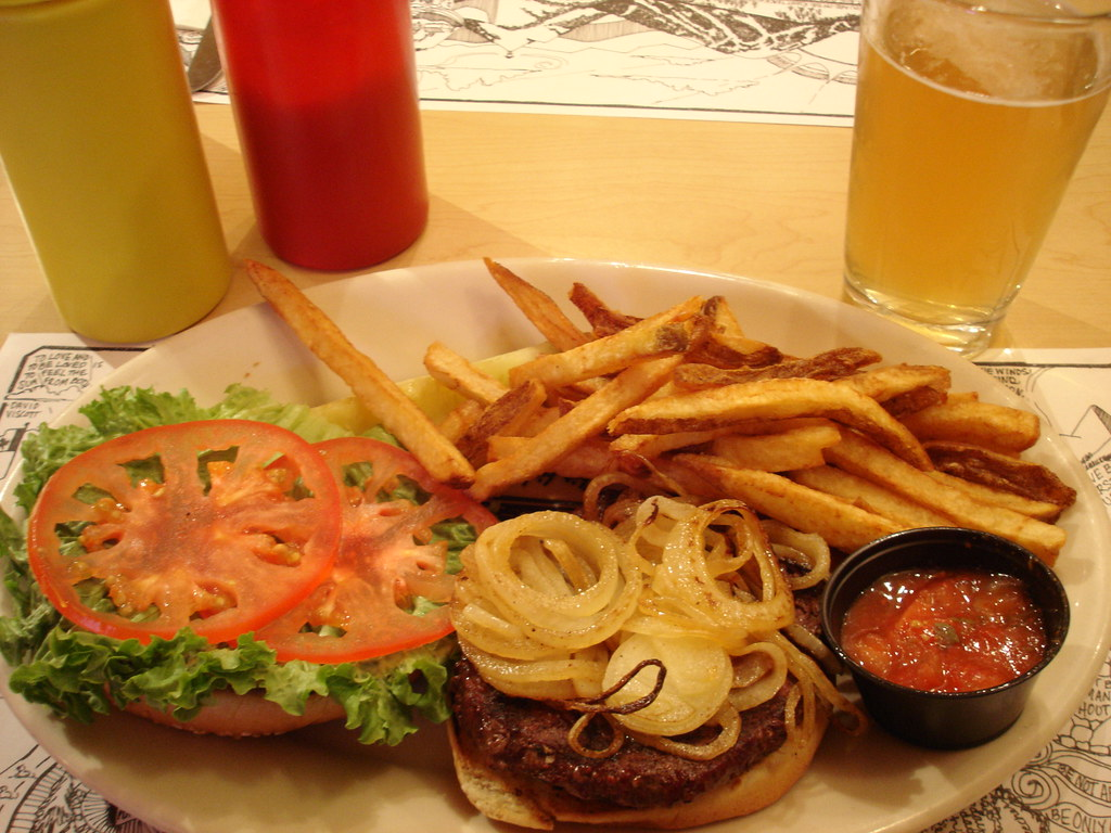 Elk burger, fries and Huckleberry beer