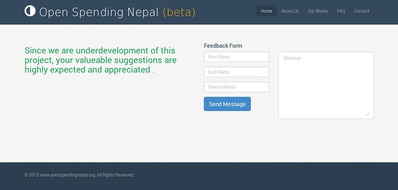 Front Page of openspendingnepal.org