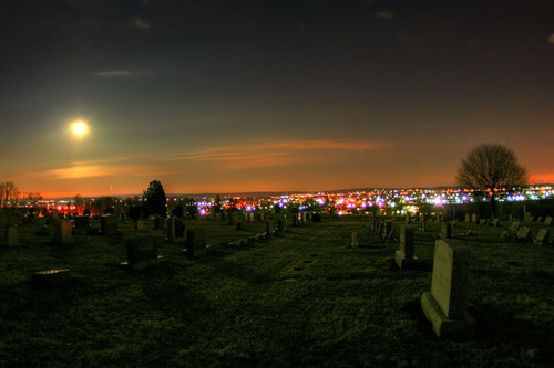 life shadow sky moon grave graveyard night landscape death town shadows view pennsylvania cemetary graves creepy fullmoon pa gravestone palmyra hdr hilltop moonshadows newacademy