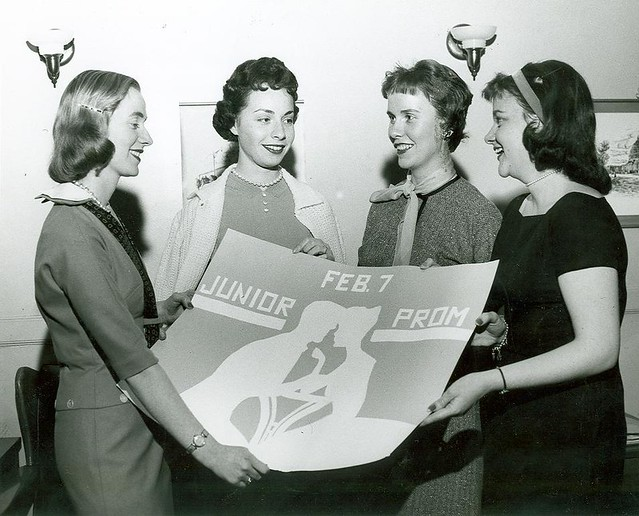 Events (12) - 1960s - Junior Prom banner, Eileen Maloney, Rosemary St. Thomas, Dolores Estes, Marylou Fitzsimmons