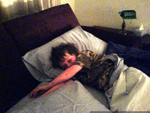nick, asleep in aunt megan's bed   DSC01688