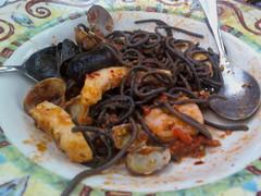 squid ink spaghetti al pescatore