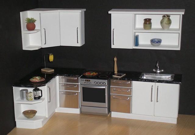 White modern 1/12th scale dollhouse kitchen   Flickr ...