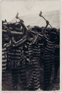 Alan Lomax: Convicts singing in woodyard, Reed Camp, South Carolina, 1934