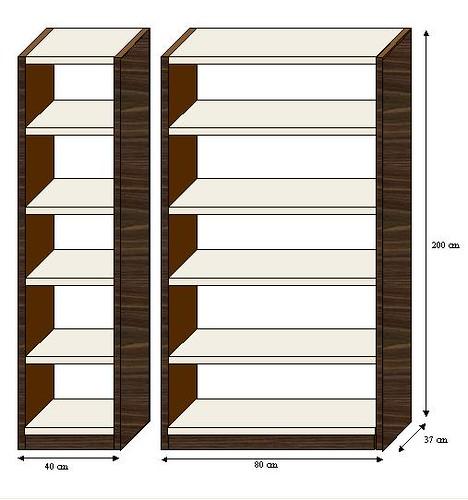 Dise o de bibliotecas bibliotecas de 6 estantes medidas for Medidas ergonomicas de un escritorio